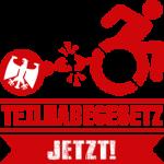 Logo - Teilhabegesetz jetzt! - Rolli zieht Eisen-Kugel, Kette reizt.