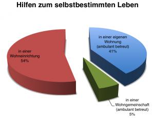 """Tortendiagramm """"Hilfen zum selbstbestimmten Leben"""": in einer Wohneinrichtungen 54%, in einer Wohngemeinschaft 5%, in einer eigenen Wohnung 41%"""