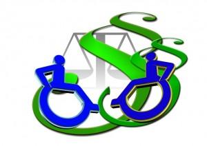 Bild Assistenz-Recht (© pixabay): Zeigt zwei Rollstuhl-Logos, zwei Paragraphen und eine Waage.