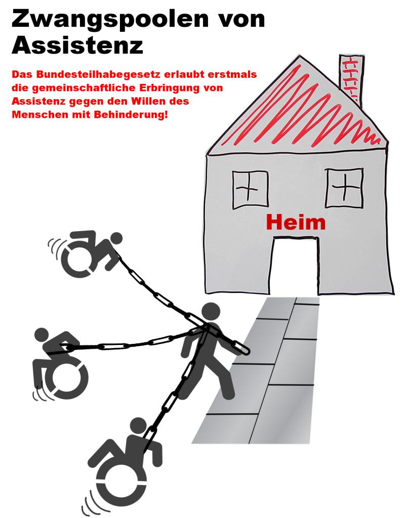 Das Bild illustriert das sog. Zwangspooling: Das Bundesteilhabegesetz erlaubt erstmals die gemeinschaftliche Erbringung von Assistenz gegen den Willen des Menschen mit Behinderung!