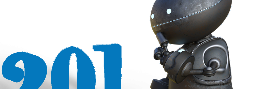 Zeigt einen Roboter, der 5 vor 12 die Sieben in der Jahreszahl 2017 austauscht.
